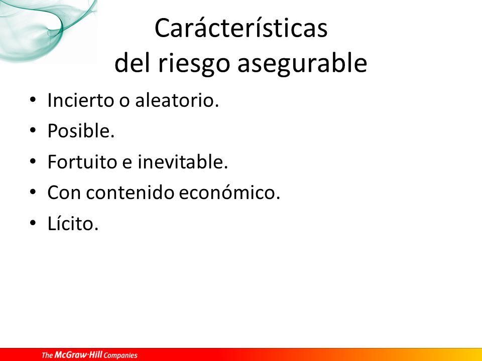 Carácterísticas del riesgo asegurable Incierto o aleatorio. Posible. Fortuito e inevitable. Con contenido económico. Lícito.