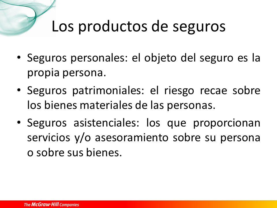 Los productos de seguros Seguros personales: el objeto del seguro es la propia persona. Seguros patrimoniales: el riesgo recae sobre los bienes materi