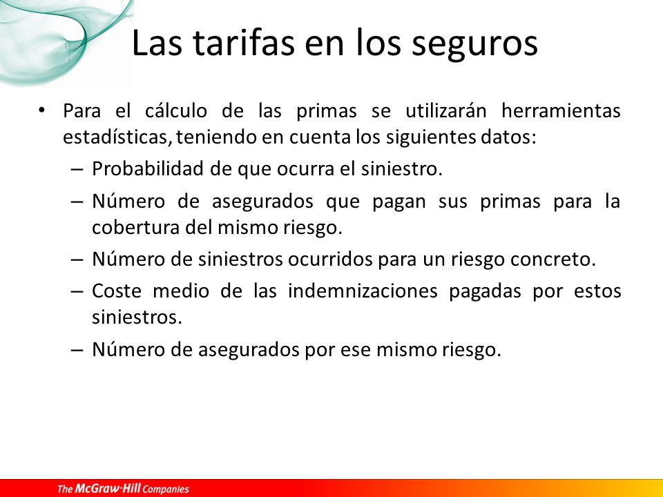 Las tarifas en los seguros Para el cálculo de las primas se utilizarán herramientas estadísticas, teniendo en cuenta los siguientes datos: – Probabilidad de que ocurra el siniestro.