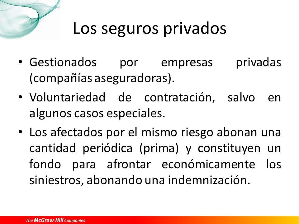 Los seguros privados Gestionados por empresas privadas (compañías aseguradoras). Voluntariedad de contratación, salvo en algunos casos especiales. Los