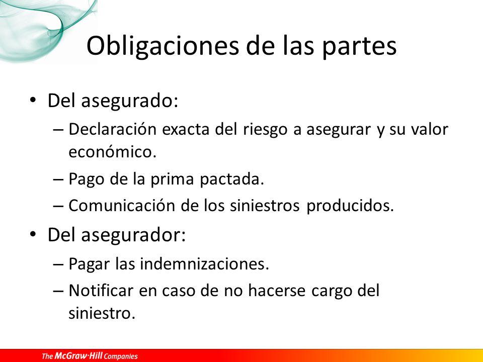 Obligaciones de las partes Del asegurado: – Declaración exacta del riesgo a asegurar y su valor económico.