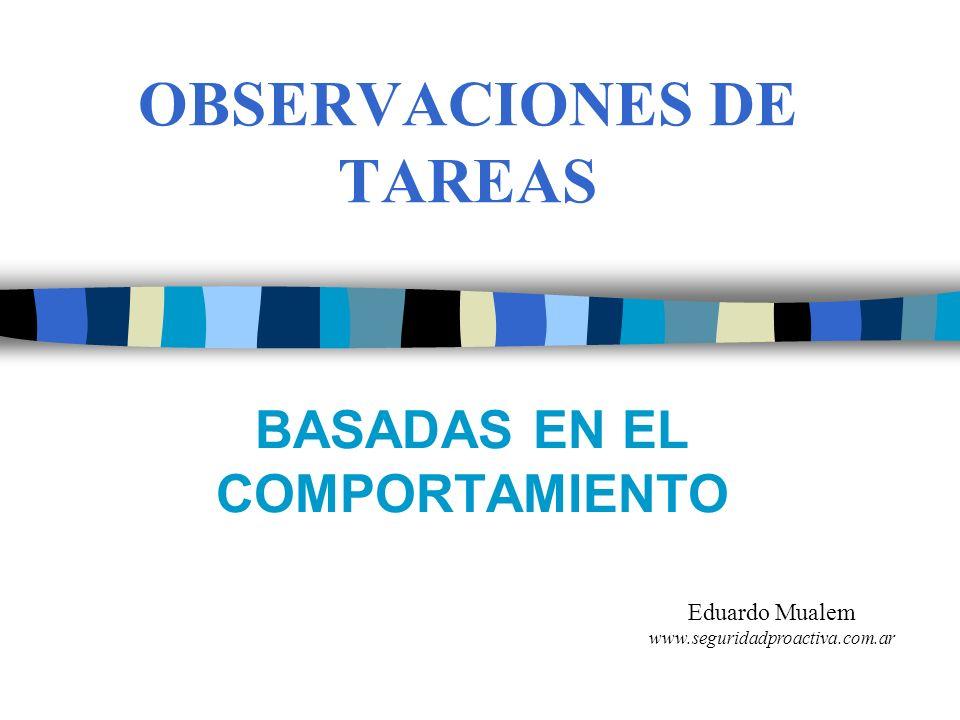 OBSERVACIONES DE TAREAS BASADAS EN EL COMPORTAMIENTO Eduardo Mualem www.seguridadproactiva.com.ar
