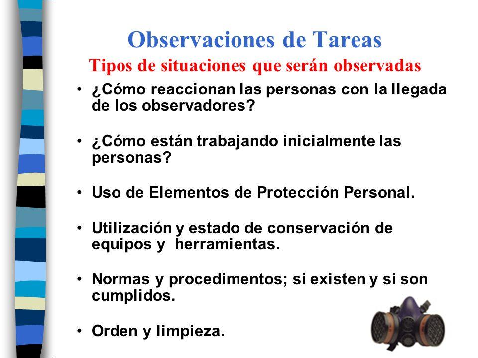 Observaciones de Tareas Tipos de situaciones que serán observadas ¿Cómo reaccionan las personas con la llegada de los observadores? ¿Cómo están trabaj