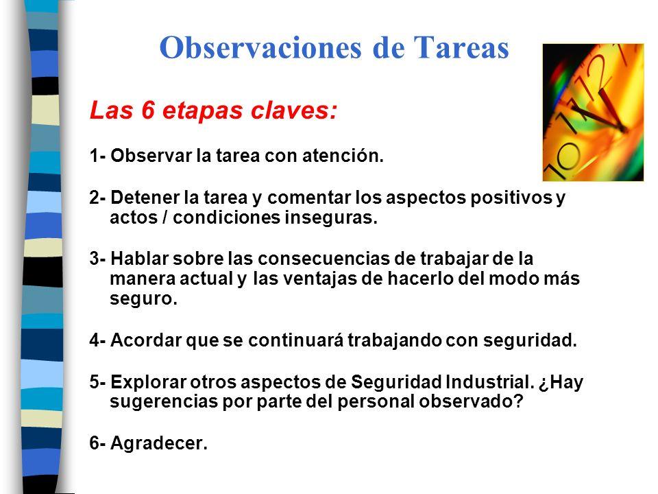 Observaciones de Tareas Las 6 etapas claves: 1- Observar la tarea con atención. 2- Detener la tarea y comentar los aspectos positivos y actos / condic