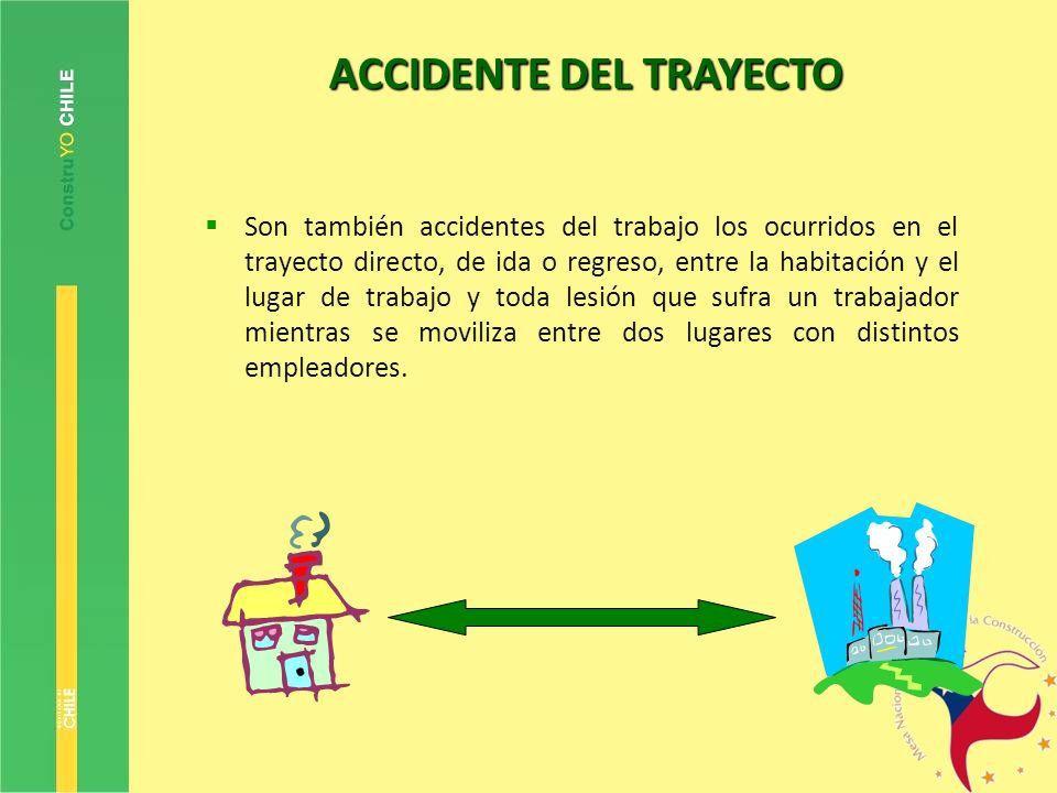ACCIDENTE DEL TRAYECTO Son también accidentes del trabajo los ocurridos en el trayecto directo, de ida o regreso, entre la habitación y el lugar de tr