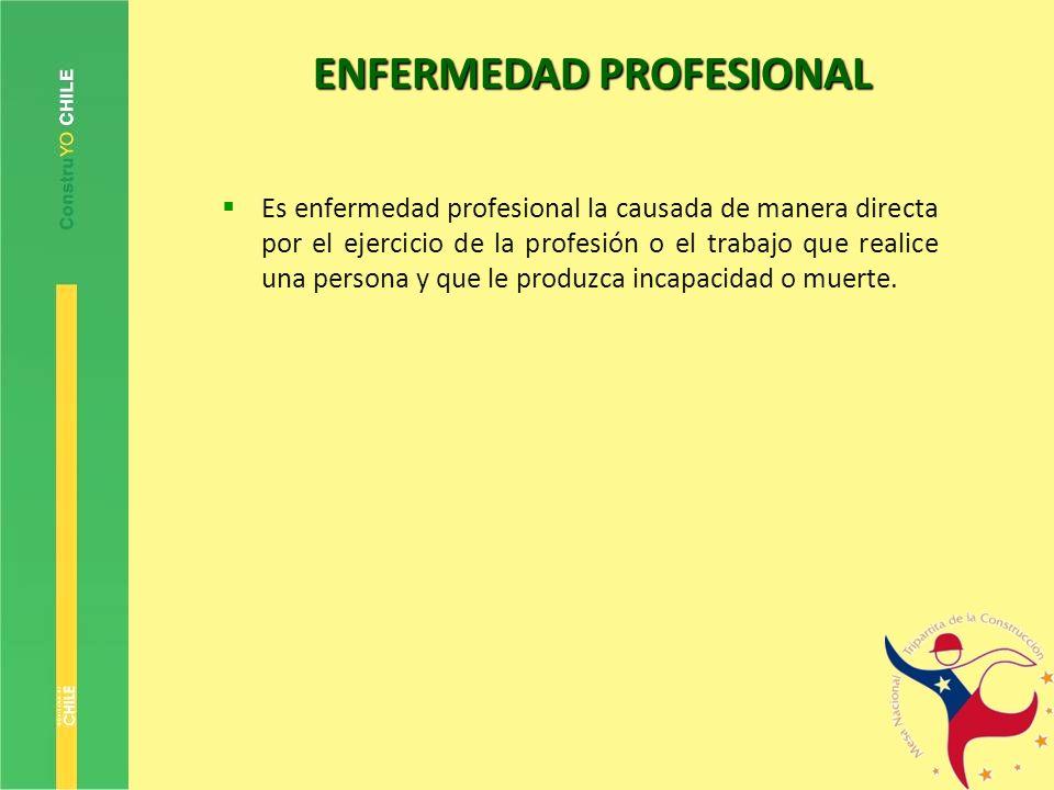 ENFERMEDAD PROFESIONAL Es enfermedad profesional la causada de manera directa por el ejercicio de la profesión o el trabajo que realice una persona y