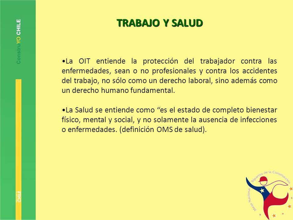 TRABAJO Y SALUD La OIT entiende la protección del trabajador contra las enfermedades, sean o no profesionales y contra los accidentes del trabajo, no