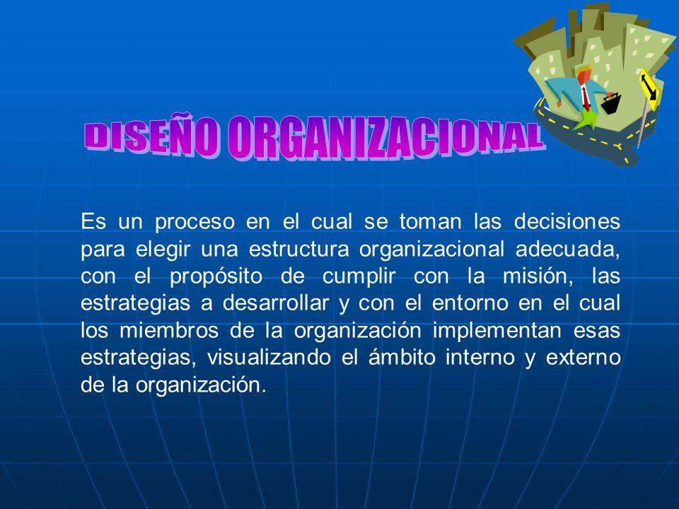 Es un proceso en el cual se toman las decisiones para elegir una estructura organizacional adecuada, con el propósito de cumplir con la misión, las es