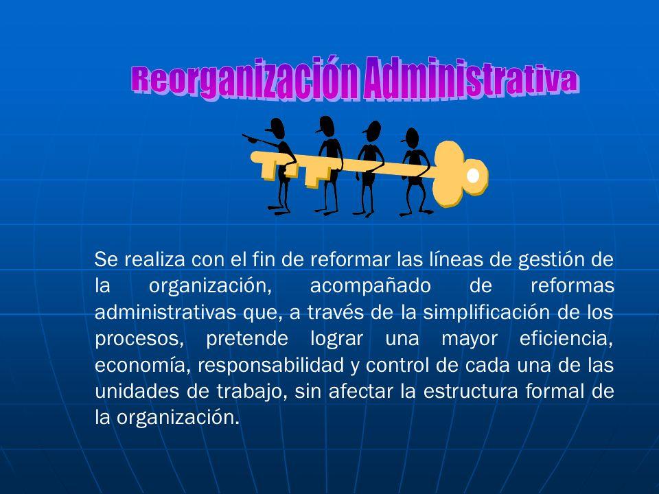 Se realiza con el fin de reformar las líneas de gestión de la organización, acompañado de reformas administrativas que, a través de la simplificación