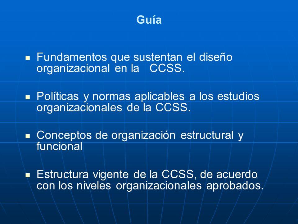 Guía Fundamentos que sustentan el diseño organizacional en la CCSS. Políticas y normas aplicables a los estudios organizacionales de la CCSS. Concepto