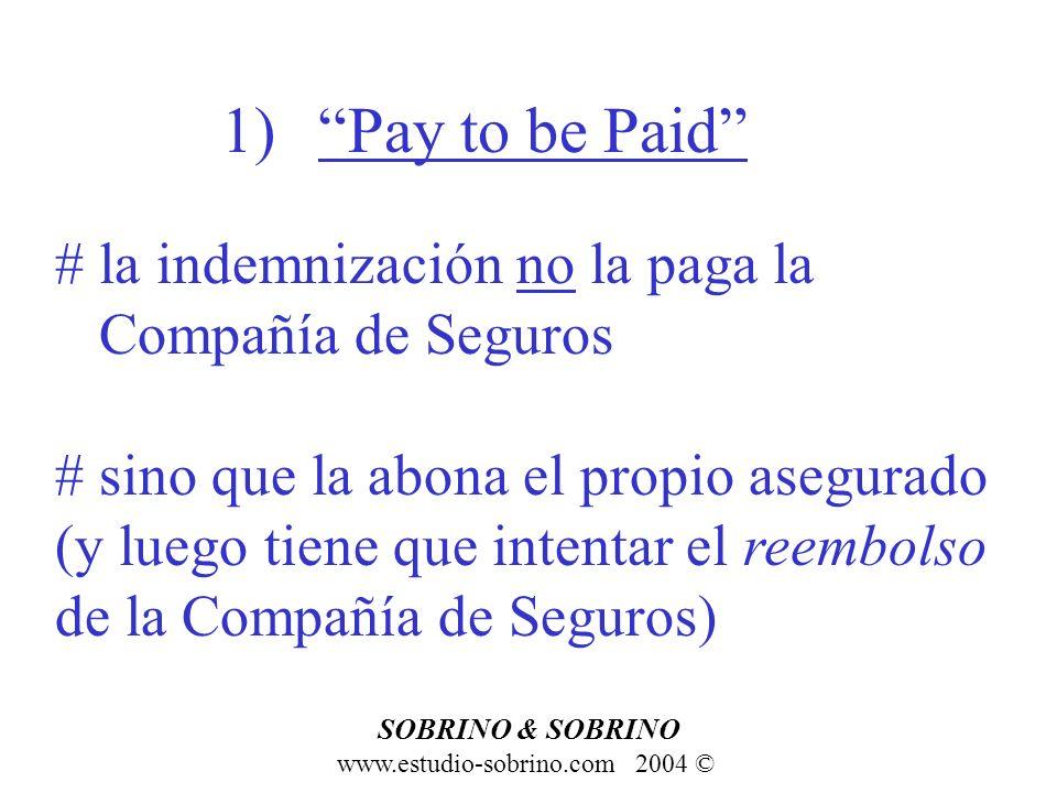 1)Pay to be Paid www.estudio-sobrino.com 2004 © SOBRINO & SOBRINO # la indemnización no la paga la Compañía de Seguros # sino que la abona el propio a