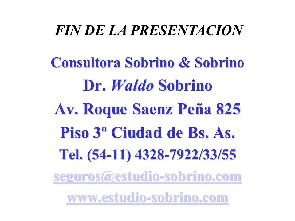 Consultora Sobrino & Sobrino Dr. Waldo Sobrino Av. Roque Saenz Peña 825 Piso 3º Ciudad de Bs. As. Tel. (54-11) 4328-7922/33/55 seguros@estudio-sobrino