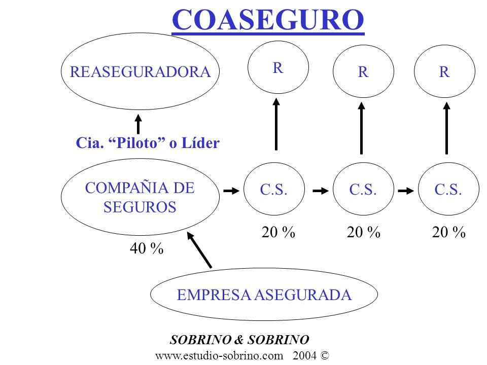 COASEGURO EMPRESA ASEGURADA COMPAÑIA DE SEGUROS C.S. Cia. Piloto o Líder REASEGURADORA R RR 40 % 20 % SOBRINO & SOBRINO www.estudio-sobrino.com 2004 ©
