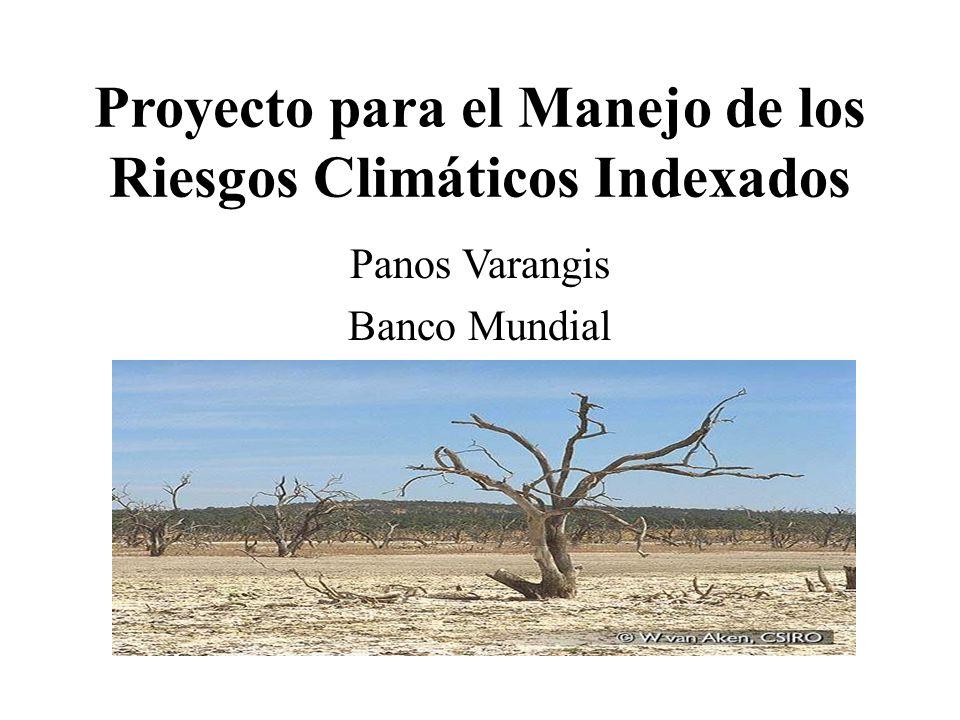 Proyecto para el Manejo de los Riesgos Climáticos Indexados Panos Varangis Banco Mundial