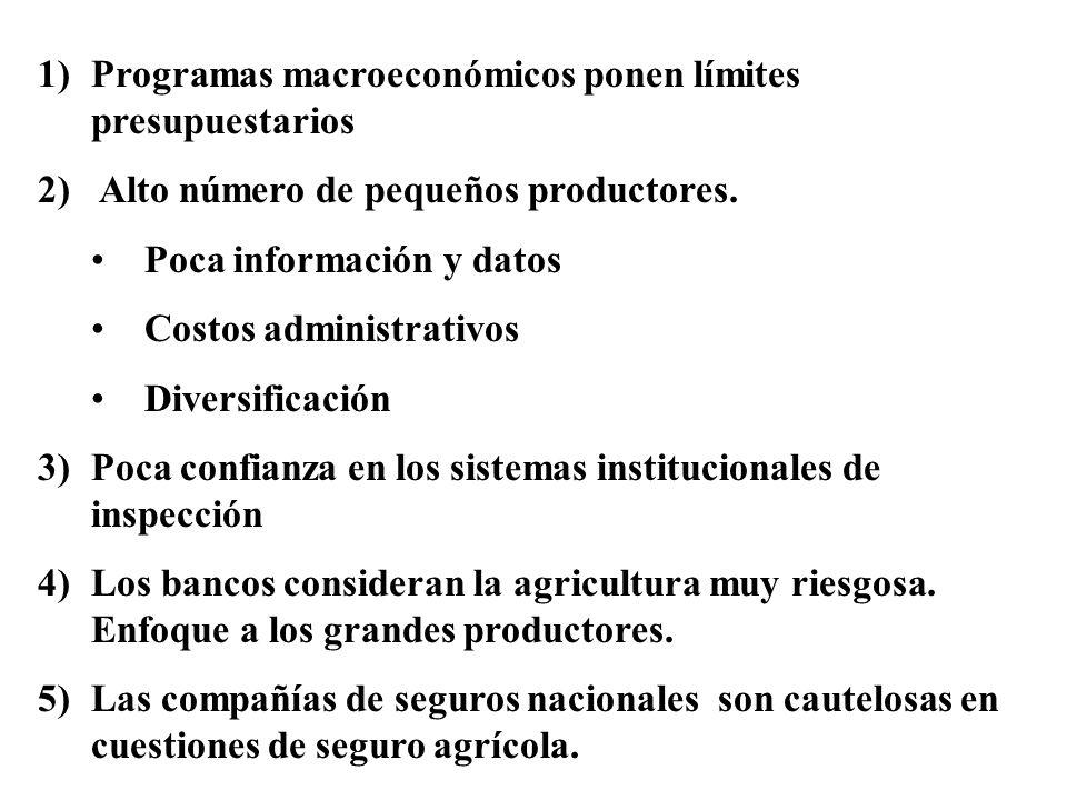1)Programas macroeconómicos ponen límites presupuestarios 2) Alto número de pequeños productores. Poca información y datos Costos administrativos Dive