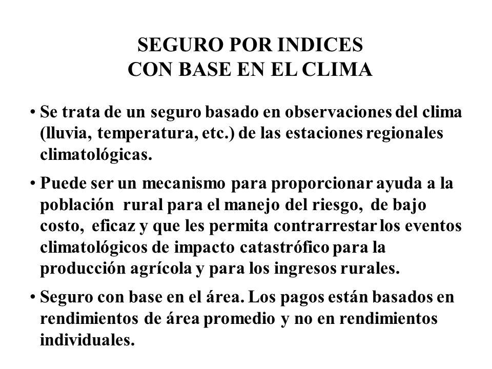 SEGURO POR INDICES CON BASE EN EL CLIMA Se trata de un seguro basado en observaciones del clima (lluvia, temperatura, etc.) de las estaciones regionales climatológicas.