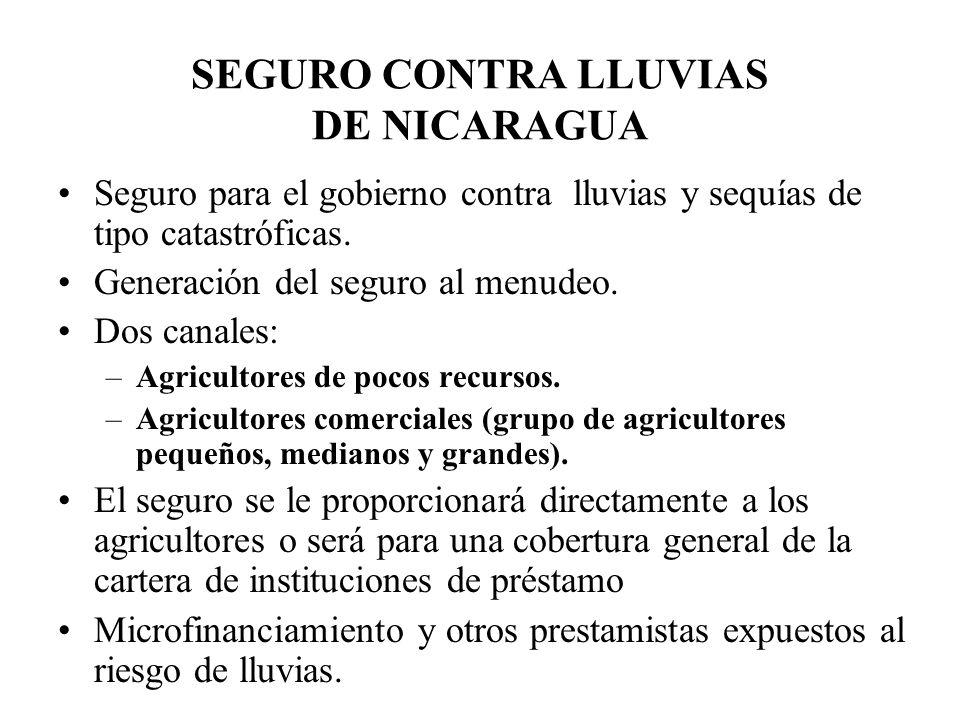 SEGURO CONTRA LLUVIAS DE NICARAGUA Seguro para el gobierno contra lluvias y sequías de tipo catastróficas. Generación del seguro al menudeo. Dos canal
