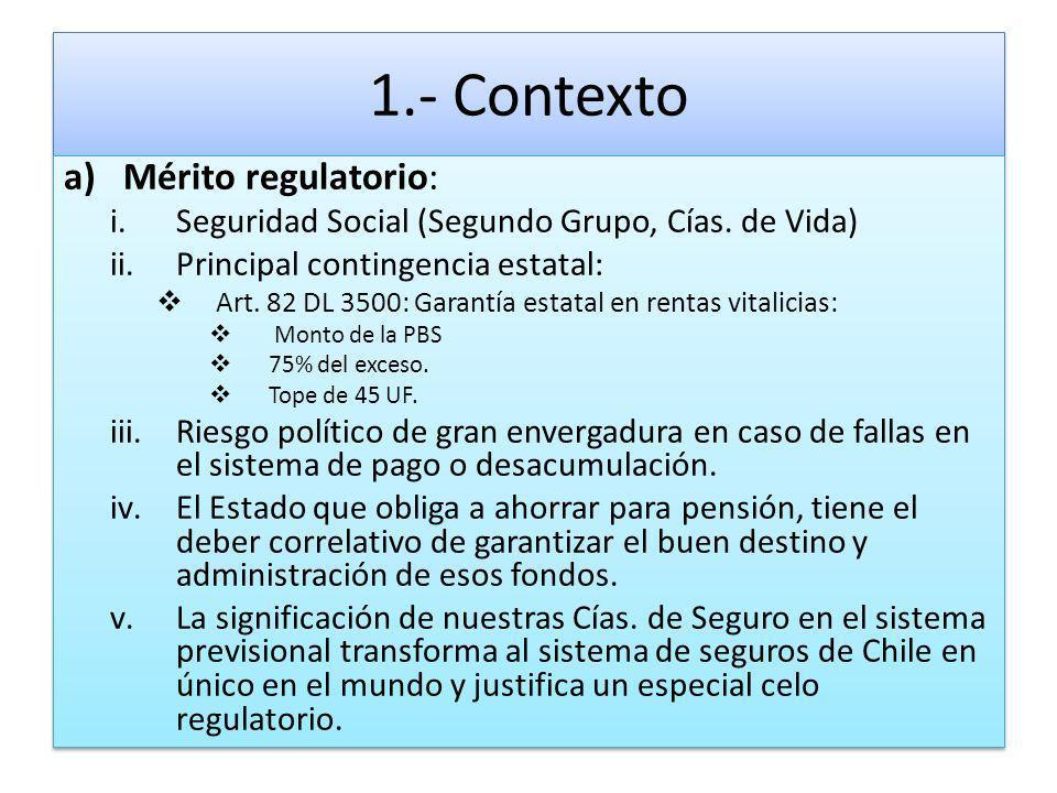 1.- Contexto a)Mérito regulatorio: i.Seguridad Social (Segundo Grupo, Cías. de Vida) ii.Principal contingencia estatal: Art. 82 DL 3500: Garantía esta