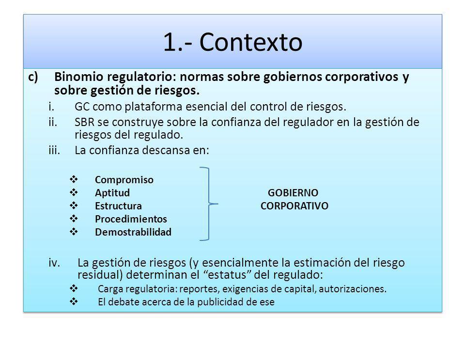 1.- Contexto c)Binomio regulatorio: normas sobre gobiernos corporativos y sobre gestión de riesgos. i.GC como plataforma esencial del control de riesg
