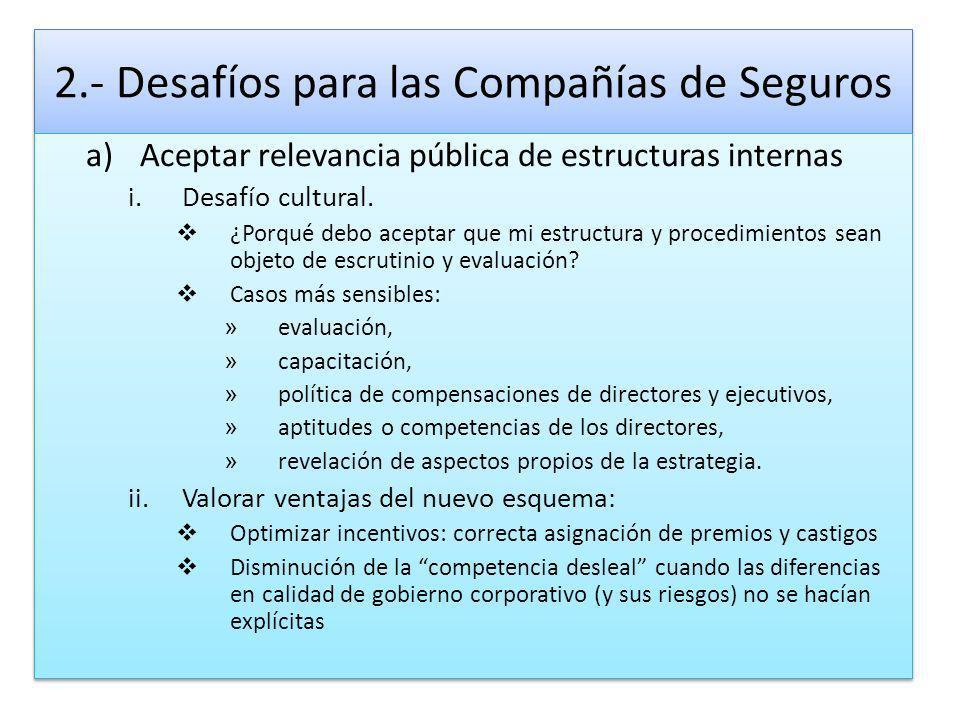 2.- Desafíos para las Compañías de Seguros a)Aceptar relevancia pública de estructuras internas i.Desafío cultural. ¿Porqué debo aceptar que mi estruc