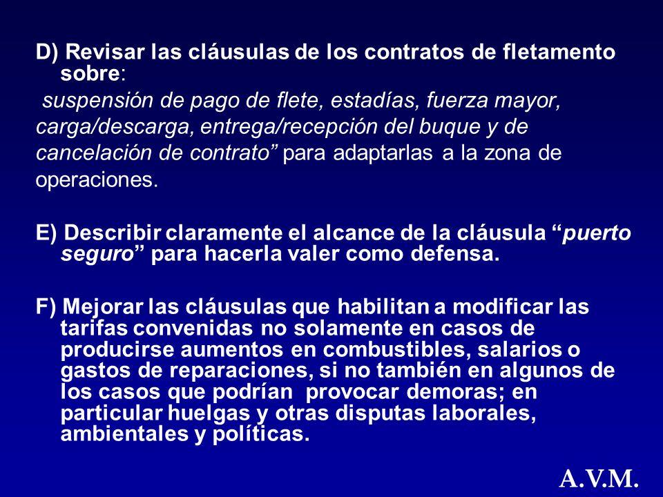 D) Revisar las cláusulas de los contratos de fletamento sobre: suspensión de pago de flete, estadías, fuerza mayor, carga/descarga, entrega/recepción