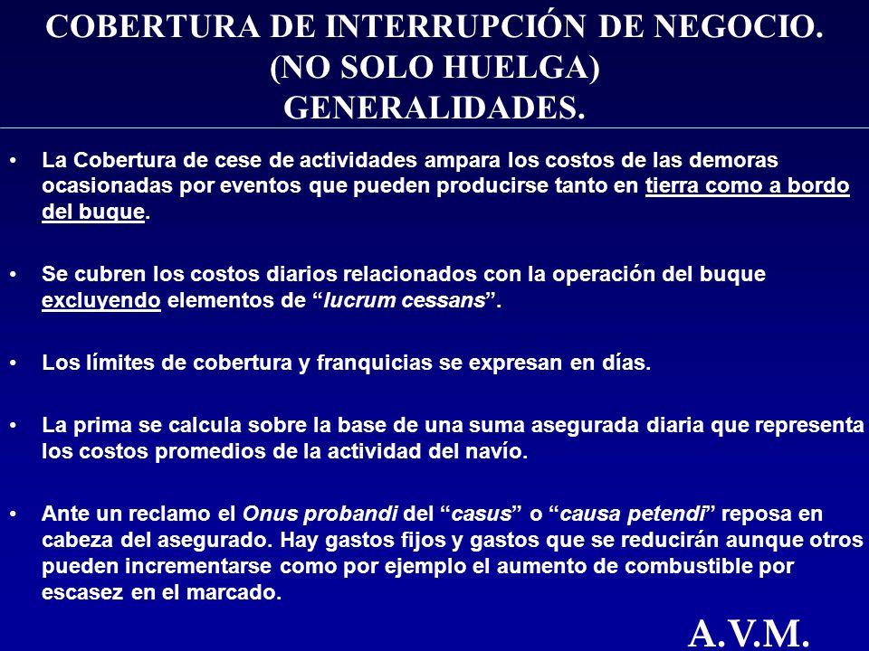 COBERTURA DE INTERRUPCIÓN DE NEGOCIO. (NO SOLO HUELGA) GENERALIDADES. La Cobertura de cese de actividades ampara los costos de las demoras ocasionadas