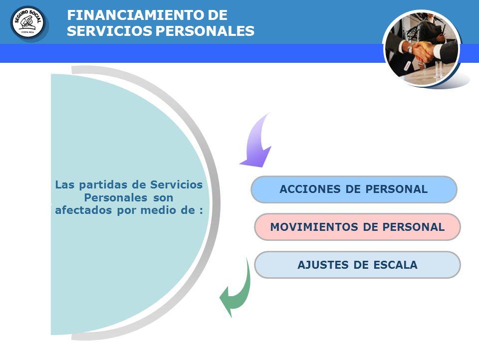 GERENCIA FINANCIERA FINANCIAMIENTO DE SERVICIOS PERSONALES ACCIONES DE PERSONAL MOVIMIENTOS DE PERSONAL AJUSTES DE ESCALA Las partidas de Servicios Pe