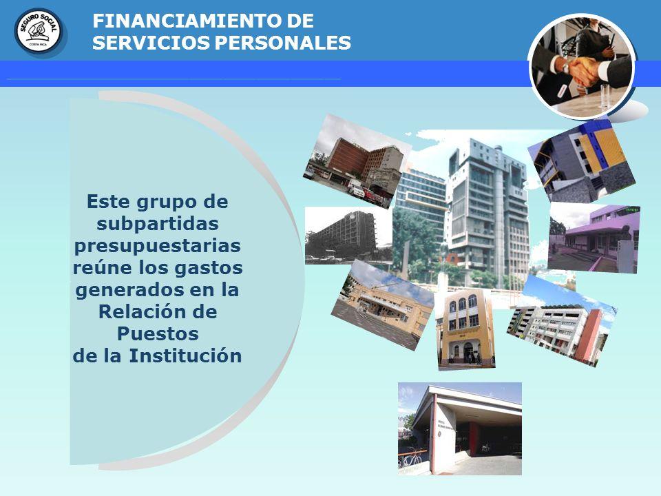 GERENCIA FINANCIERA FINANCIAMIENTO DE SERVICIOS PERSONALES Este grupo de subpartidas presupuestarias reúne los gastos generados en la Relación de Pues
