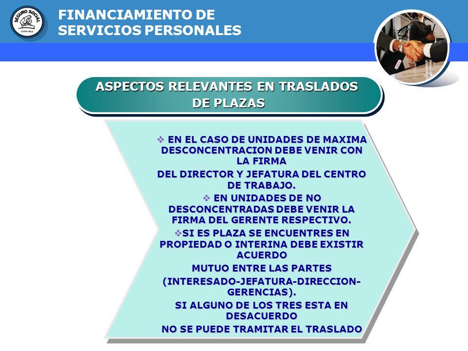 GERENCIA FINANCIERA ASPECTOS RELEVANTES EN TRASLADOS DE PLAZAS ASPECTOS RELEVANTES EN TRASLADOS DE PLAZAS FINANCIAMIENTO DE SERVICIOS PERSONALES EN EL