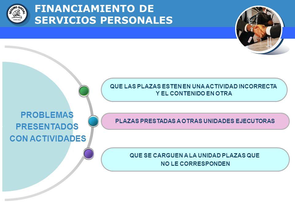 GERENCIA FINANCIERA FINANCIAMIENTO DE SERVICIOS PERSONALES PROBLEMAS PRESENTADOS CON ACTIVIDADES QUE LAS PLAZAS ESTEN EN UNA ACTIVIDAD INCORRECTA Y EL
