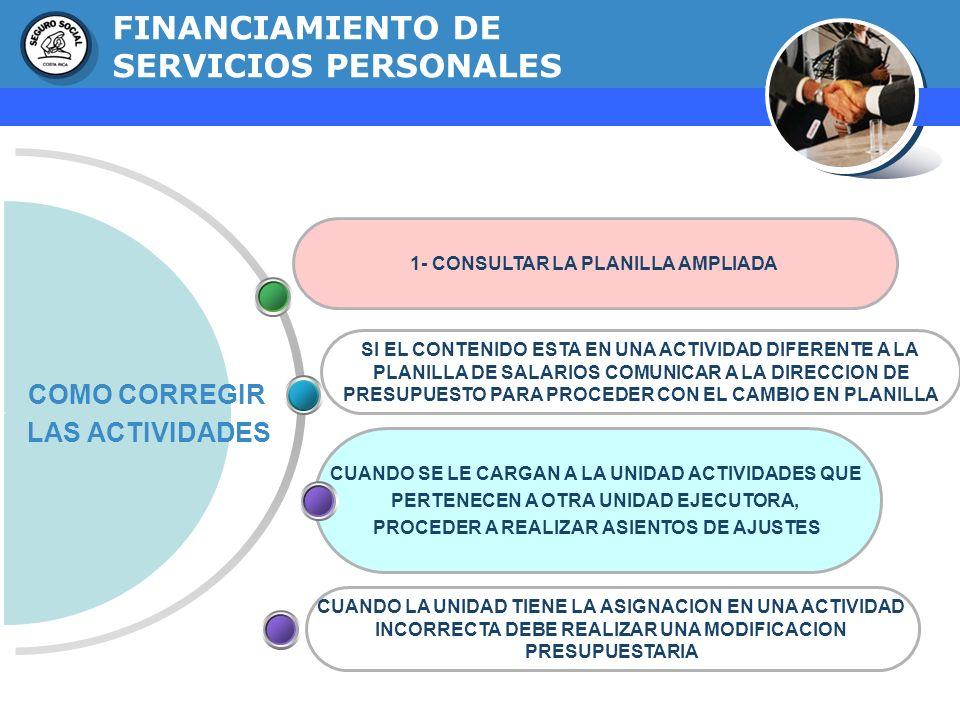 GERENCIA FINANCIERA FINANCIAMIENTO DE SERVICIOS PERSONALES COMO CORREGIR LAS ACTIVIDADES 1- CONSULTAR LA PLANILLA AMPLIADA CUANDO SE LE CARGAN A LA UN