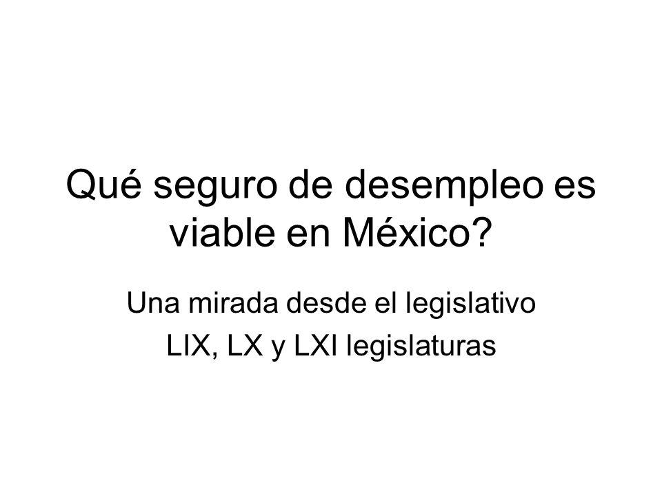 Qué seguro de desempleo es viable en México? Una mirada desde el legislativo LIX, LX y LXI legislaturas