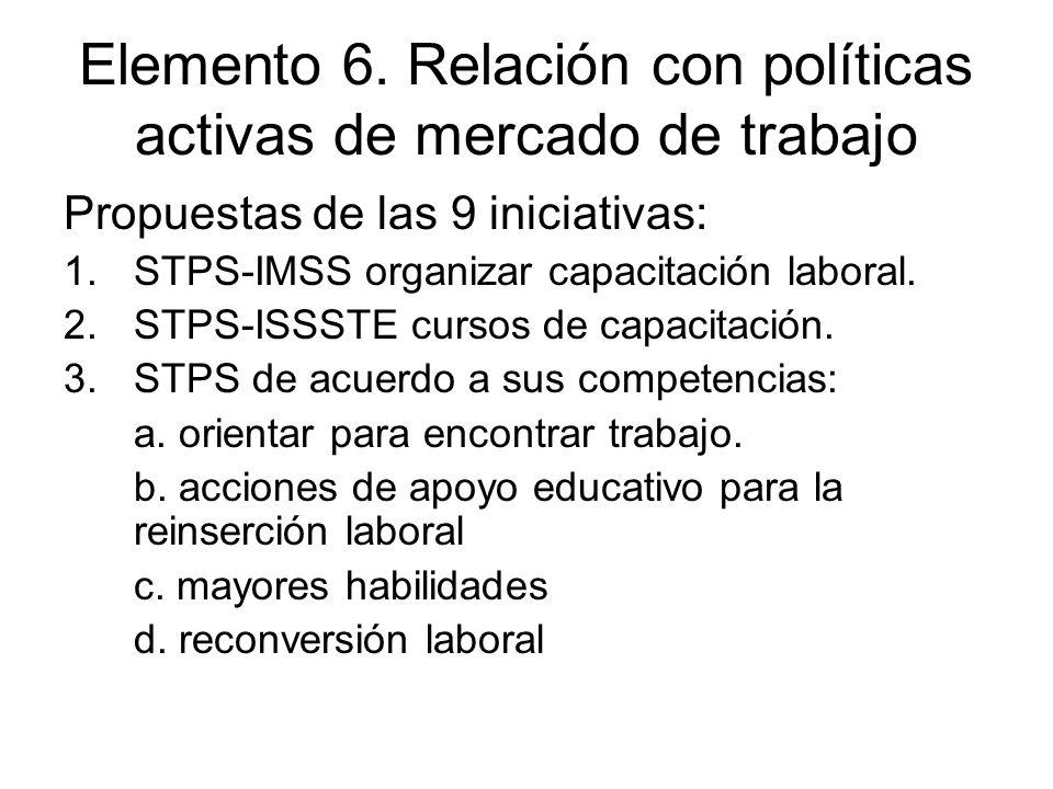 Elemento 6. Relación con políticas activas de mercado de trabajo Propuestas de las 9 iniciativas: 1.STPS-IMSS organizar capacitación laboral. 2.STPS-I