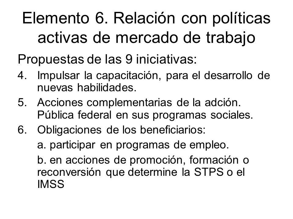 Elemento 6. Relación con políticas activas de mercado de trabajo Propuestas de las 9 iniciativas: 4.Impulsar la capacitación, para el desarrollo de nu