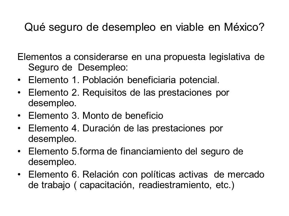 Qué seguro de desempleo en viable en México? Elementos a considerarse en una propuesta legislativa de Seguro de Desempleo: Elemento 1. Población benef