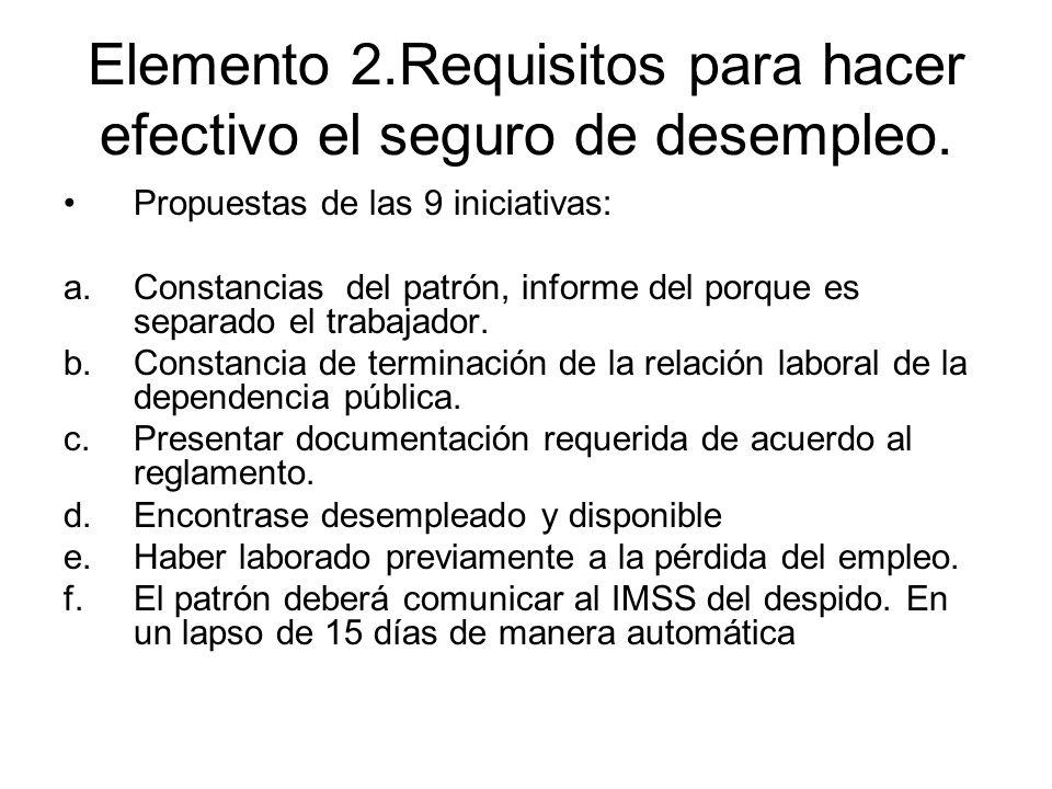 Elemento 2.Requisitos para hacer efectivo el seguro de desempleo. Propuestas de las 9 iniciativas: a.Constancias del patrón, informe del porque es sep