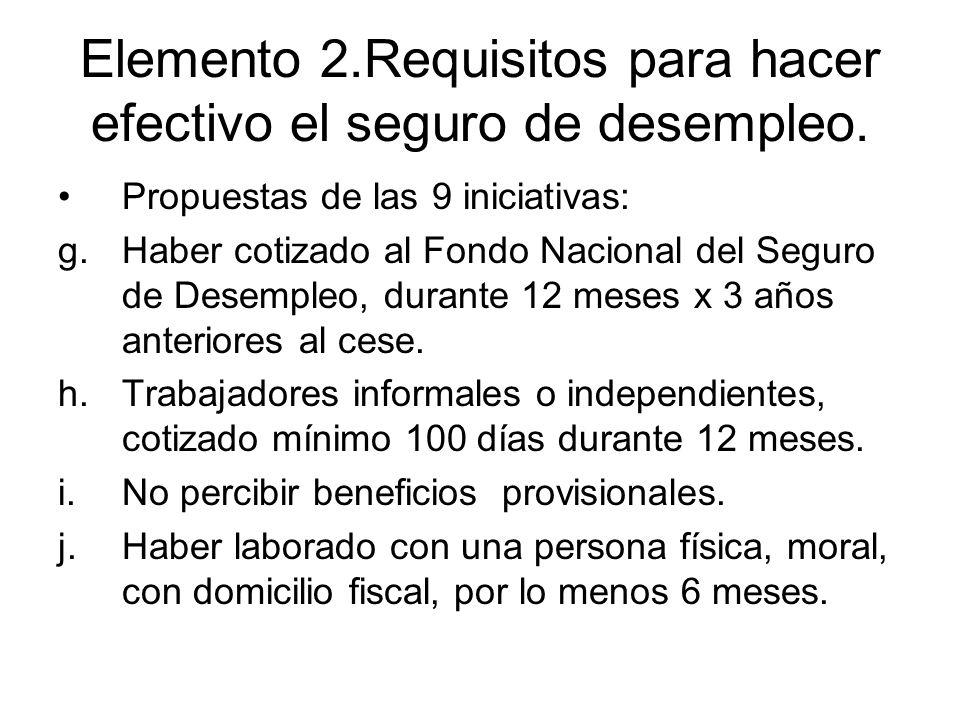 Elemento 2.Requisitos para hacer efectivo el seguro de desempleo. Propuestas de las 9 iniciativas: g.Haber cotizado al Fondo Nacional del Seguro de De