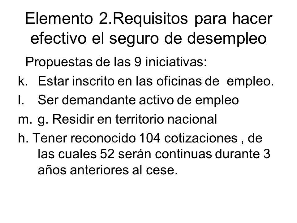 Elemento 2.Requisitos para hacer efectivo el seguro de desempleo Propuestas de las 9 iniciativas: k.Estar inscrito en las oficinas de empleo. l.Ser de