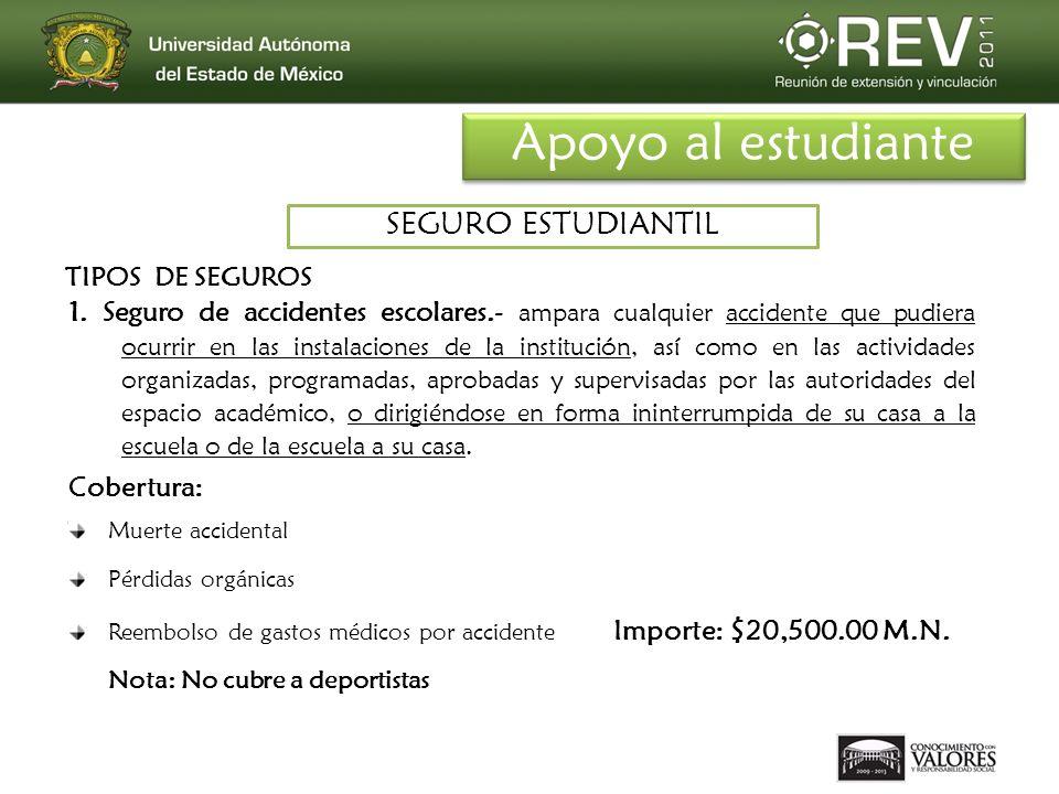 1. Seguro de accidentes escolares.- ampara cualquier accidente que pudiera ocurrir en las instalaciones de la institución, así como en las actividades