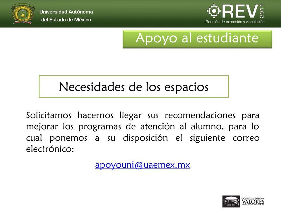 Necesidades de los espacios Solicitamos hacernos llegar sus recomendaciones para mejorar los programas de atención al alumno, para lo cual ponemos a su disposición el siguiente correo electrónico: apoyouni@uaemex.mx Apoyo al estudiante