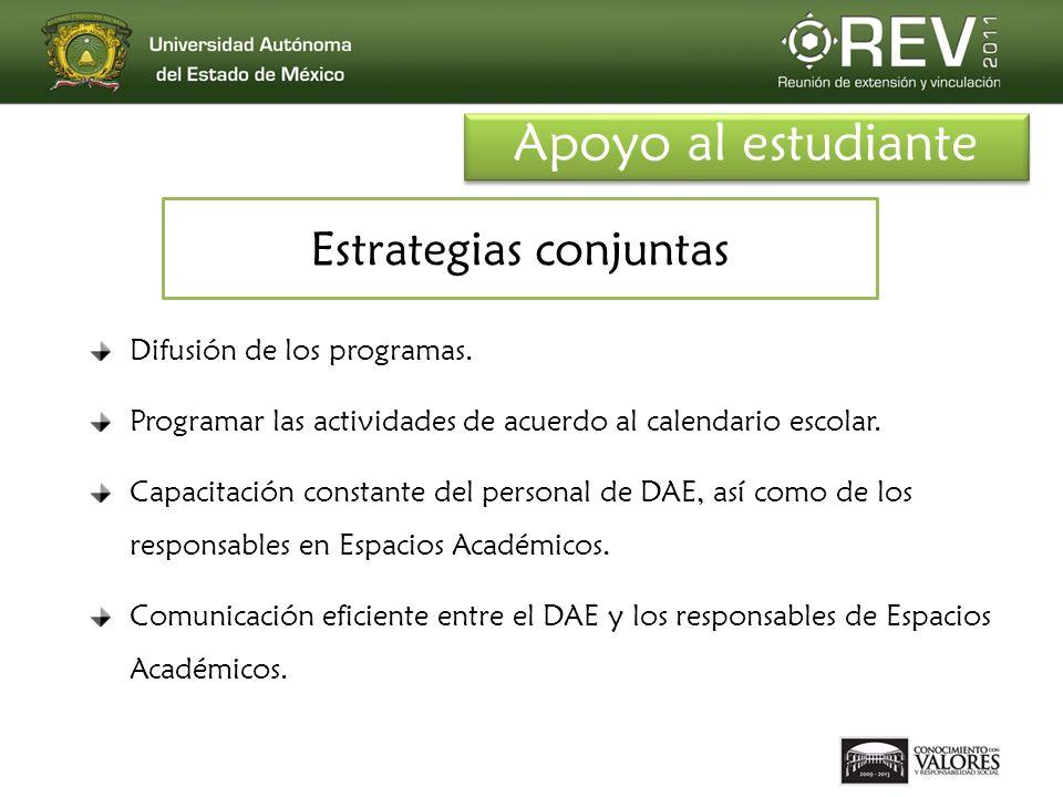 Estrategias conjuntas Difusión de los programas. Programar las actividades de acuerdo al calendario escolar. Capacitación constante del personal de DA