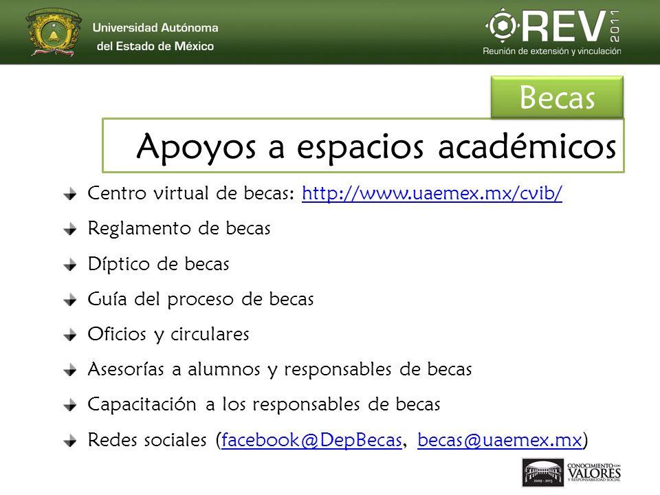 Centro virtual de becas: http://www.uaemex.mx/cvib/http://www.uaemex.mx/cvib/ Reglamento de becas Díptico de becas Guía del proceso de becas Oficios y circulares Asesorías a alumnos y responsables de becas Capacitación a los responsables de becas Redes sociales (facebook@DepBecas, becas@uaemex.mx)facebook@DepBecasbecas@uaemex.mx Apoyos a espacios académicos Becas