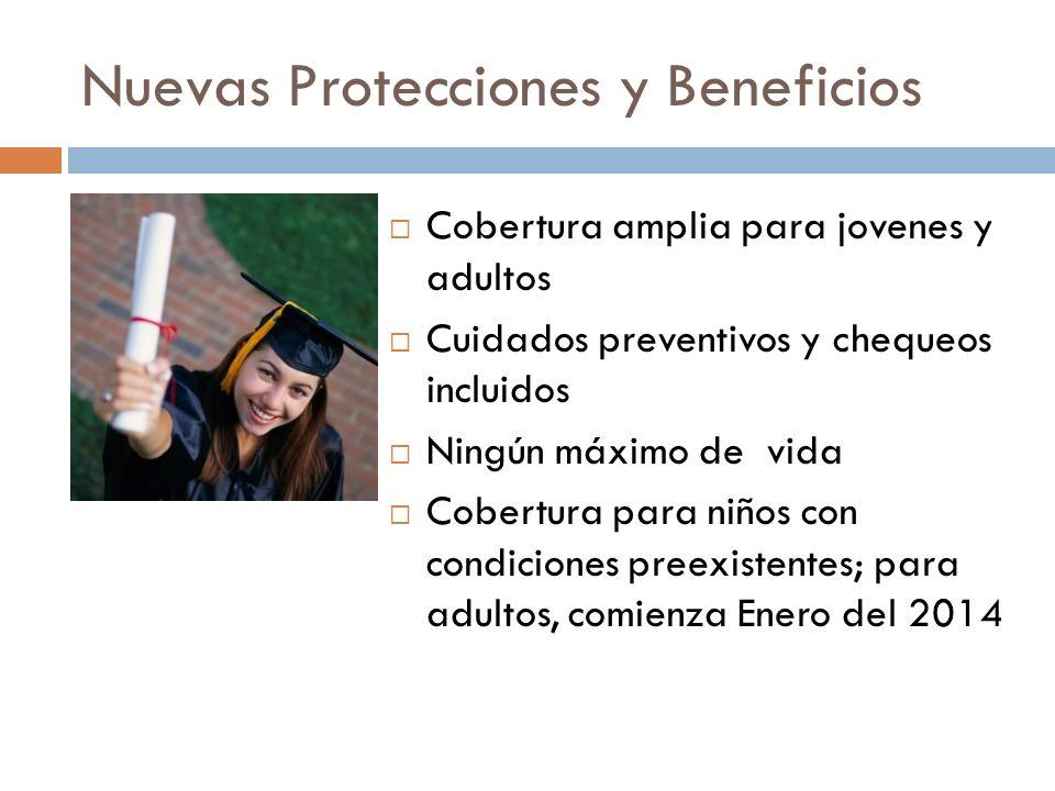 Nuevas Protecciones y Beneficios Cobertura amplia para jovenes y adultos Cuidados preventivos y chequeos incluidos Ningún máximo de vida Cobertura para niños con condiciones preexistentes; para adultos, comienza Enero del 2014