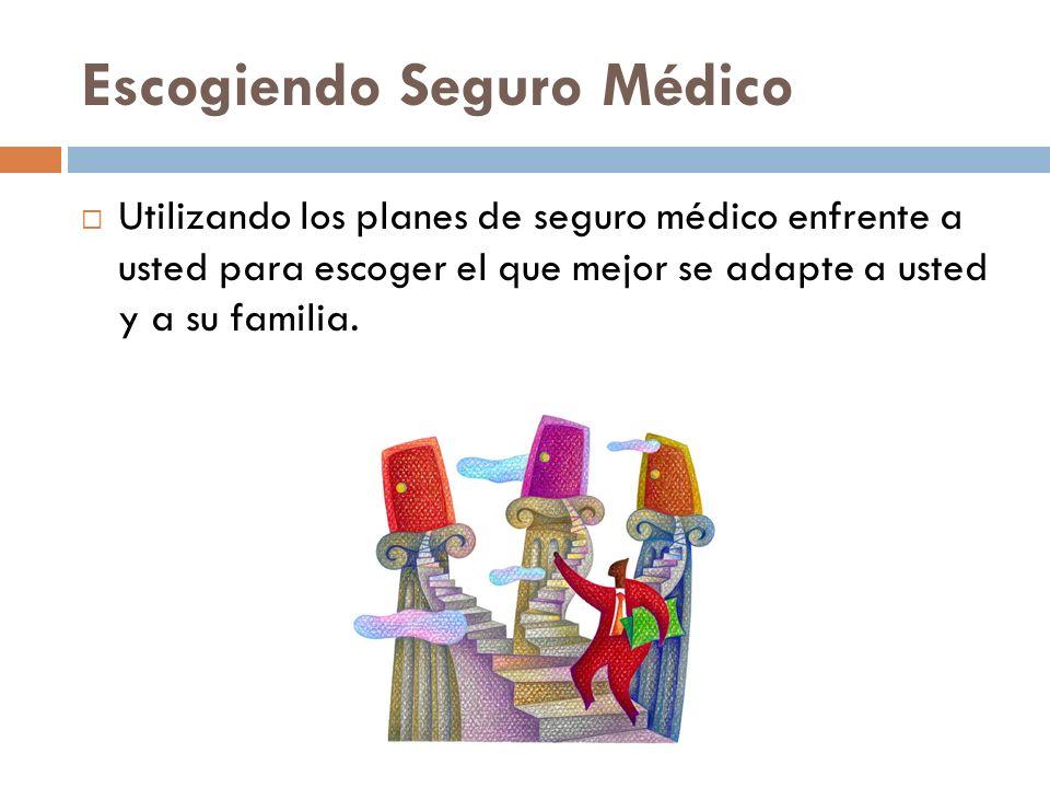Escogiendo Seguro Médico Utilizando los planes de seguro médico enfrente a usted para escoger el que mejor se adapte a usted y a su familia.
