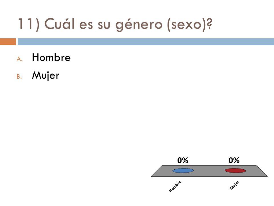 11) Cuál es su género (sexo)? A. Hombre B. Mujer