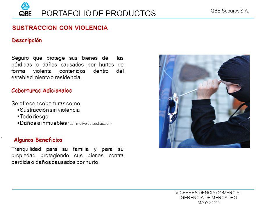VICEPRESIDENCIA COMERCIAL GERENCIA DE MERCADEO MAYO 2011 QBE Seguros S.A. SUSTRACCION CON VIOLENCIA Seguro que protege sus bienes de las pérdidas o da