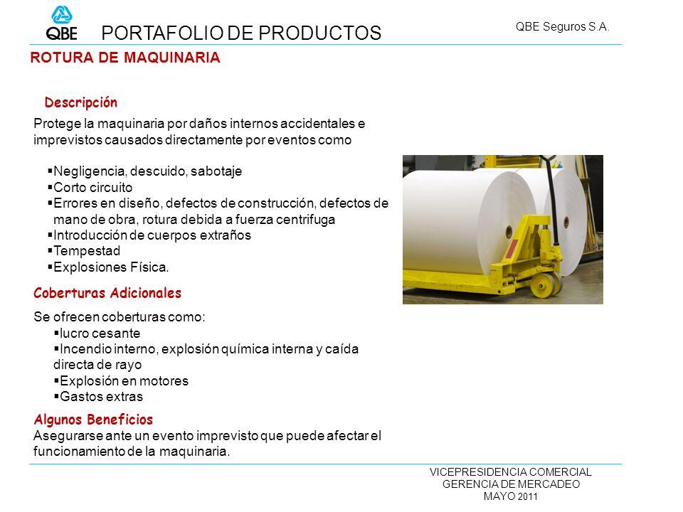 VICEPRESIDENCIA COMERCIAL GERENCIA DE MERCADEO MAYO 2011 QBE Seguros S.A. ROTURA DE MAQUINARIA Protege la maquinaria por daños internos accidentales e