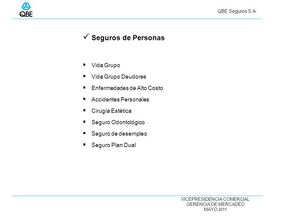 VICEPRESIDENCIA COMERCIAL GERENCIA DE MERCADEO MAYO 2011 QBE Seguros S.A. Seguros de Personas Vida Grupo Vida Grupo Deudores Enfermedades de Alto Cost