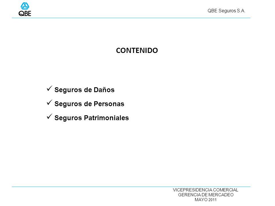 VICEPRESIDENCIA COMERCIAL GERENCIA DE MERCADEO MAYO 2011 QBE Seguros S.A. Seguros de Daños Seguros de Personas Seguros Patrimoniales CONTENIDO