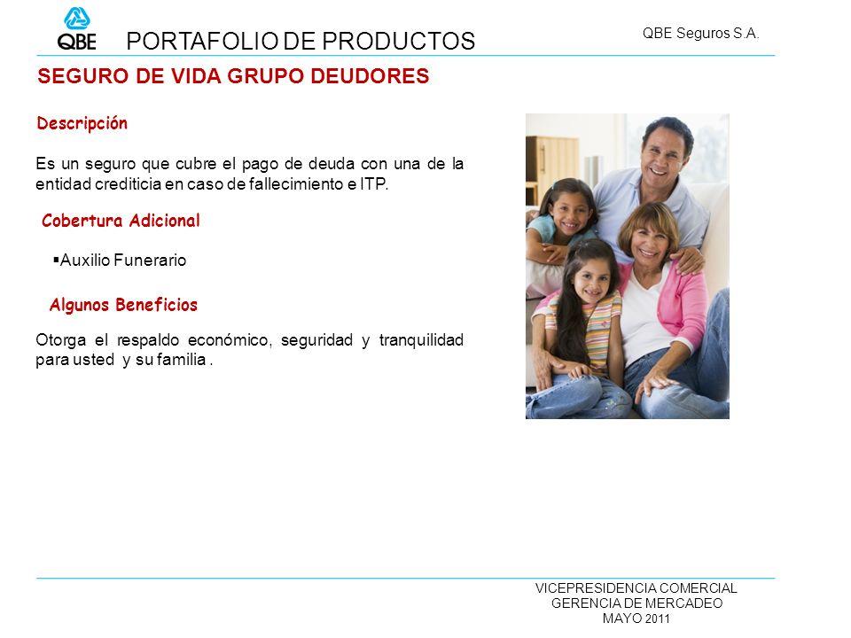 VICEPRESIDENCIA COMERCIAL GERENCIA DE MERCADEO MAYO 2011 QBE Seguros S.A. SEGURO DE VIDA GRUPO DEUDORES Es un seguro que cubre el pago de deuda con un